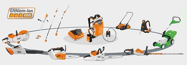 Stihl Pro akkumulátoros gépek, egymással kompatibilis Pro akkuk és töltők ipari használatra
